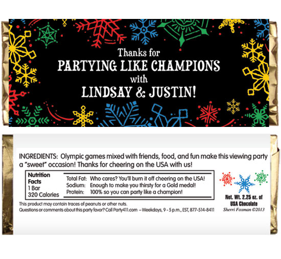 Winter Snowflakes Olympics Theme Candy Bar Wrapper