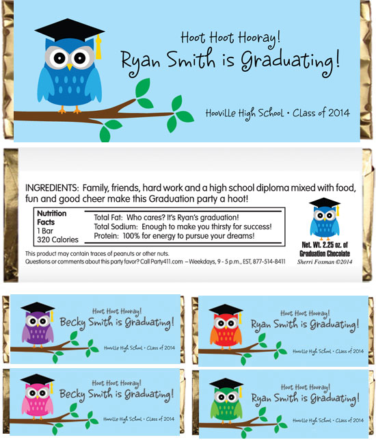 Graduation Owl Theme Candy Wrapper / A hooting good party favor