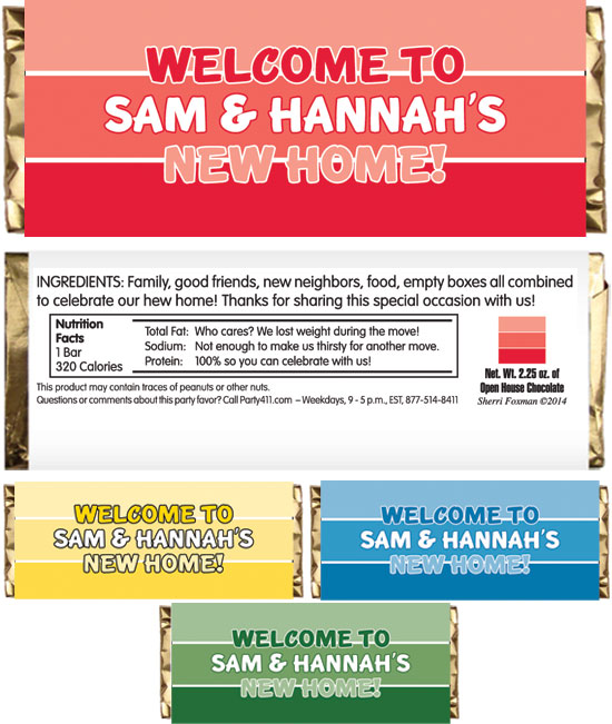 Housewarming Paint Swatch Theme Candy Bar Wrapper