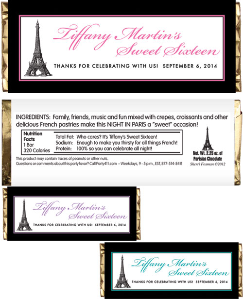 Paris Party Theme Candy Bar Wrapper / A fun party favor for your Paris theme party.