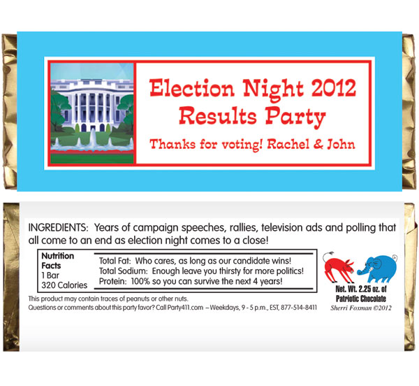 US Election Night Theme Candy Bar Wrapper