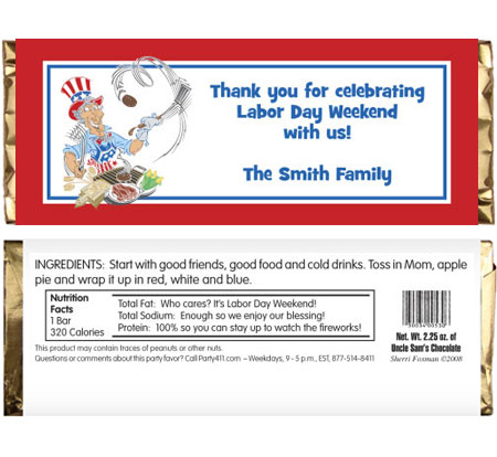 American Patriotic BBQ Theme Candy Bar Wrapper / A fun patriotic candy bar wrapper