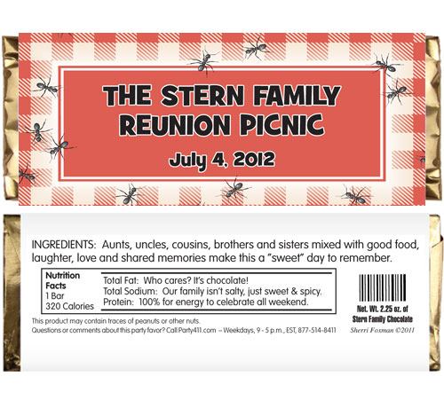 "Backyard Picnic Theme Candy Bar Wrapper / You won't have to feel ""antsy"" giving out this favor"