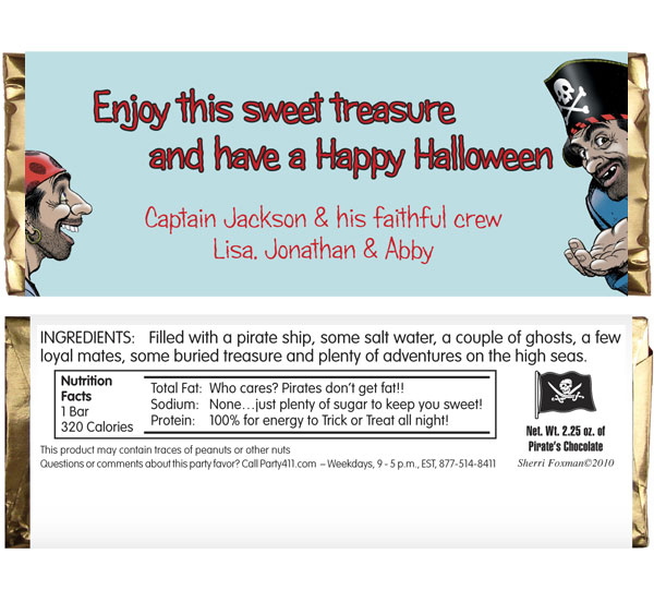Pirate Theme Candy Bar Wrapper