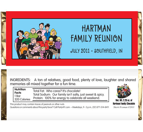 A Reunion Theme Candy Bar Wrapper