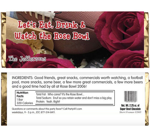 Rose Bowl Football Candy Bar Wrapper / Remember the granddaddy of them all!