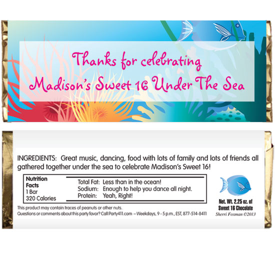Under The Sea Theme Candy Bar Wrapper