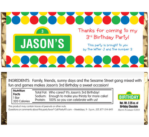 Birthday Sesame Street Theme Candy Bar Wrapper