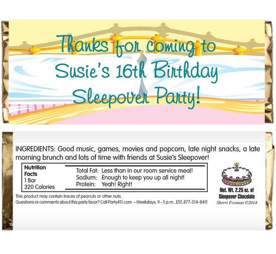 Sleepover Theme Candy Bar Wrapper