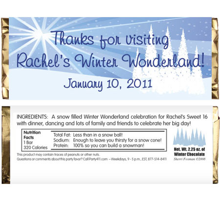 Winter Wonderland Theme Candy Bar Wrapper / A winter wonderland theme candy bar