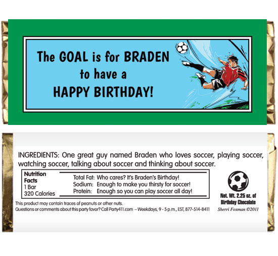 Soccer Boys Theme Candy Bar Wrapper / You won't receive a red card for giving out this party favor