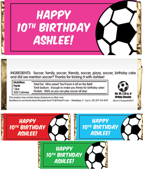 Soccer Girl Theme Candy Bar Wrapper / A delicious soccer theme favor