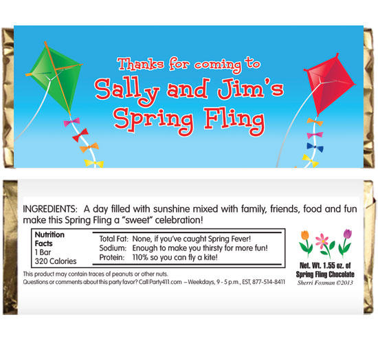 Flying Kites Theme Candy Bar Wrapper / Flying kites, what better way to celebrate spring than with these Spring Themed candy bar wrappers.