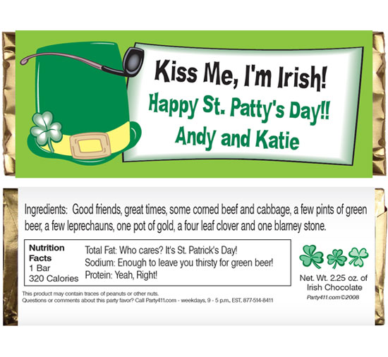 St. Patricks Day Derby Theme Candy Bar Wrapper / This candy bar wrapper is a great party favor for your St. Patrick's Day party