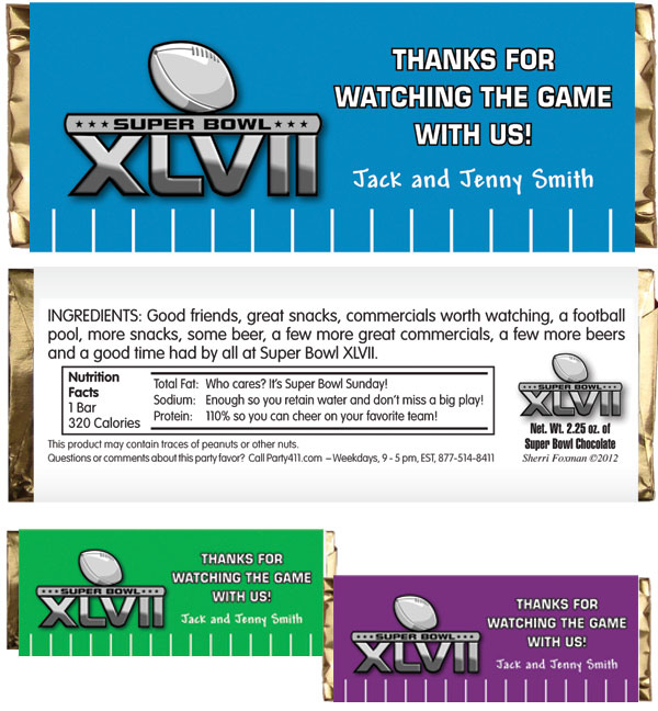 2013 Super Bowl XLVII Theme Candy Bar Wrapper / Super Bowl baby!