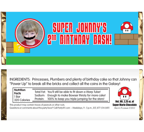 Birthday Super Mario Brothers Theme Candy Bar Wrapper