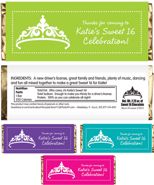 Tiara Theme Candy Bar Wrapper / A tiara theme sweet 16 favor