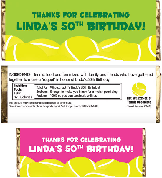Tennis Theme Party Candy Bar Wrapper