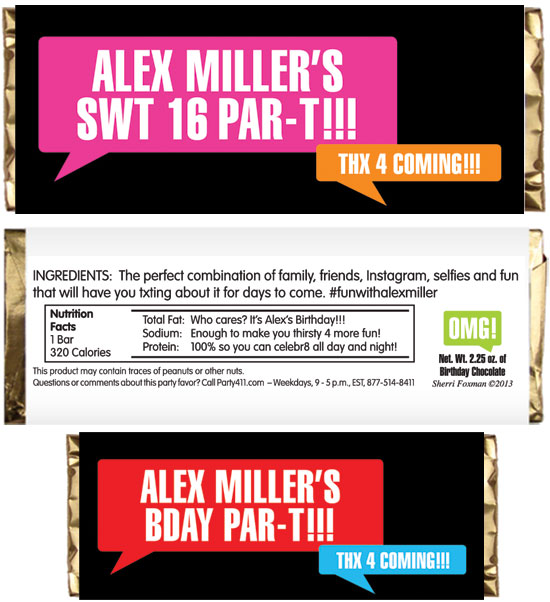 Texting Theme Candy Bar Wrapper