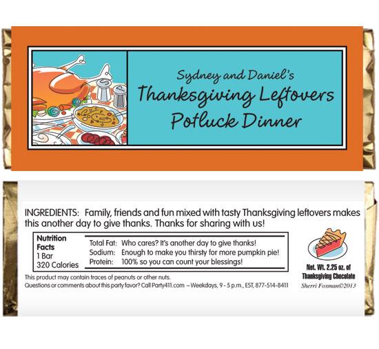 Thanksgiving Potluck Theme Candy Bar Wrapper