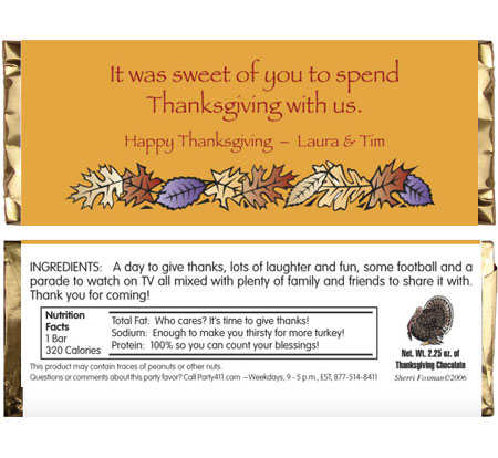 Fall Leaves Theme Candy Bar Wrapper / Celebrate Fall and Thanksgiving with a candy bar wrapper party favor.