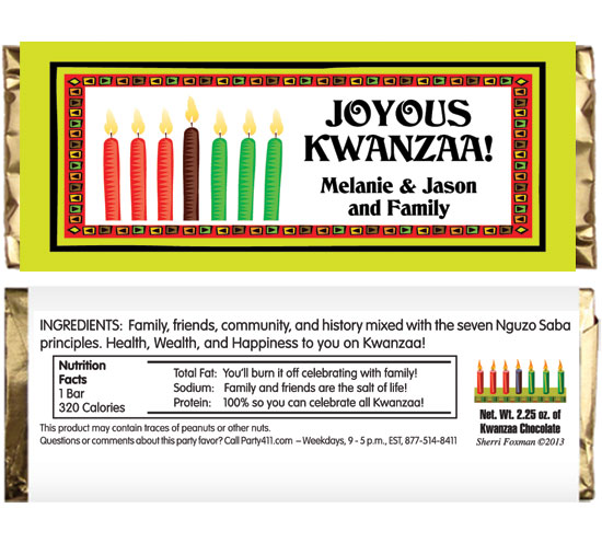 Kwanzaa Kinara Theme Candy Bar Wrapper