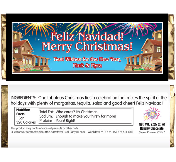 New Years Fiesta Theme Candy Bar Wrapper / A great New Year's fiesta favor