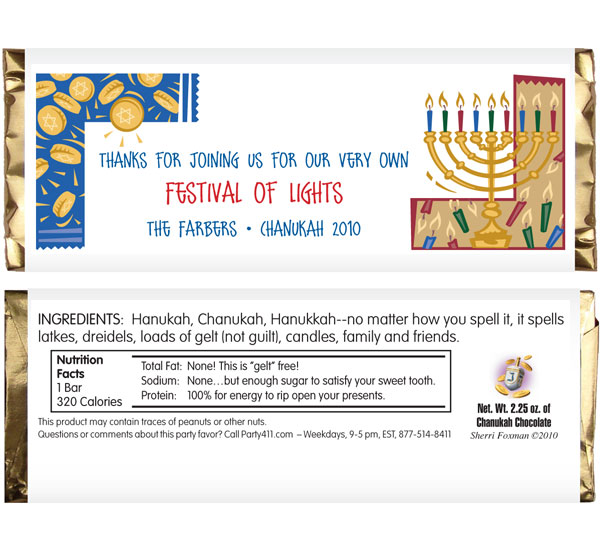 Chanukah Symbols Theme Candy Bar Wrapper