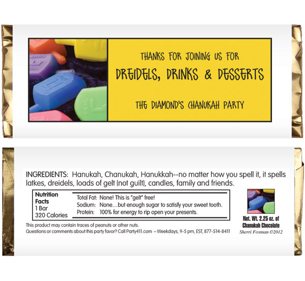 Chanukah Dreidel Theme Candy Bar Wrapper / Your guests will be winners with this party favor