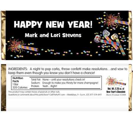 Noisemakers New Years Theme Candy Bar Wrapper / Make some noise this New Year's Eve!