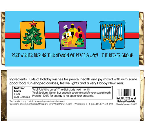 Winter Holidays Trio Theme Candy Bar Wrapper