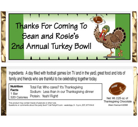 Thanksgiving Turkeybowl Theme Candy Bar Wrapper / These candy bar wrappers are great for your turkey bowl
