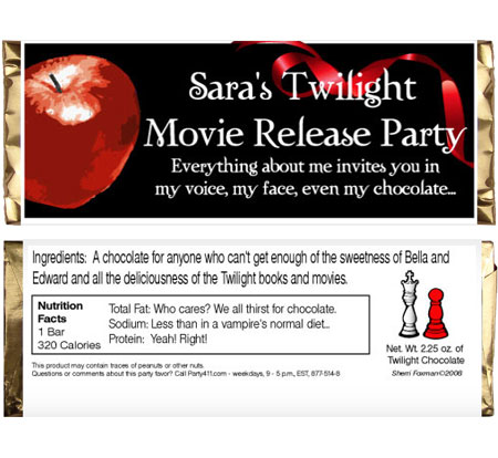 Twilight Theme Candy Bar Wrappers