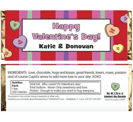 valentine's day cany bar wrappers. Party favors for Valentine's Day