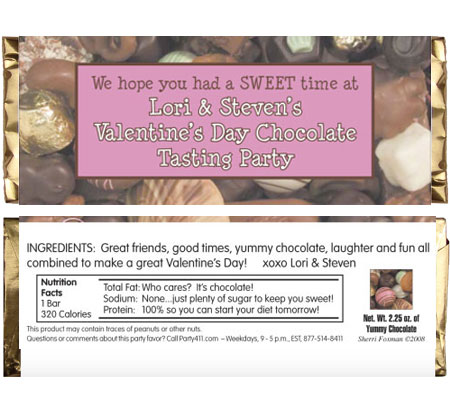 Valentines Day Chocolates Theme Candy Bar Wrapper / Great for a chocolate tasting party!