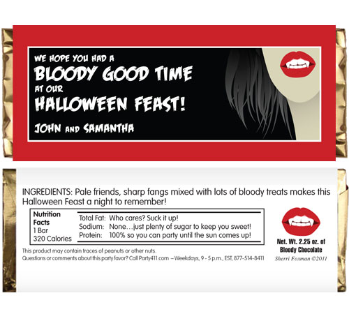 Halloween Vampire Theme Candy Bar Wrapper / A candy bar wrapper party favor is almost as sweet as your guests at a vampire party.