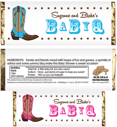 Western Baby Theme Candy Bar Wrapper / A fun Western baby shower party favor