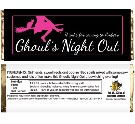 Ghoul's Night Out Halloween Theme Candy Bar Wrapper