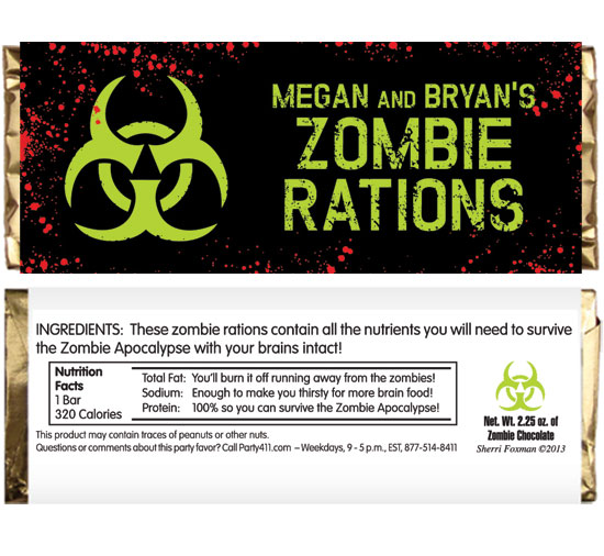 Zombie Theme Candy Bar Wrapper / A candy bar wrapper party favor is almost as sweet as your guests at a zombie party.