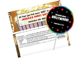 Hollywood theme candy bars and candy bar wrapper favors