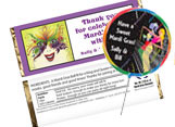 Mardi Gras candy bar favors