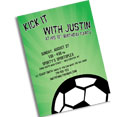 Soccer theme Bar Mitzvah invitations and favors