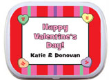 Valentine's Day party mint and candy tin favors
