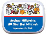Sports theme mint and candy tin party favors