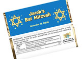 Bar and bat mitzvah candy bar wrappers and candy bars