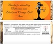 personalized black and orange ball candy bar wrapper