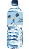 personalized cheerleading water bottle label