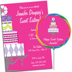 Birthday cake theme Sweet 16 invitations and party favors