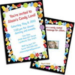 Candy theme invitations and favors for a Sweet 16