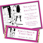 Fashion theme Sweet 16 invitations and party favors